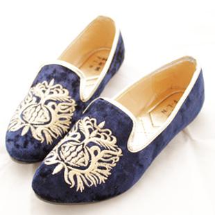 Ảnh số 49: giầy da lộn thêu hoa văn cực độc 2 màu xanh