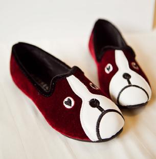 Ảnh số 32: giầy nhung da lộn mặt chó xinh 3 màu đen,đỏ