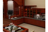 MSP059: Mẫu tủ bếp gỗ tự nhiên sồi mĩ  vân gỗ sang trọng.