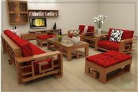 sofa gỗ tự nhiên 05 - NỘI THẤT KIM ANH sản xuất giá chỉ 18 tri.