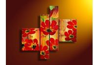 Tranh sơn dầu - tranh bộ hiện đại Hoa đỏ 01.