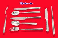 Bộ Thìa,dao,dĩa bạc,xi bạc dày.