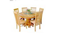 Bộ bàn ăn 06 ghế bàn tròn gỗ sồi Nga EPA-130.
