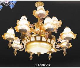 Cần bán bộ đèn chùm mã số CH 8083/12, bộ đèn chùm chao vàng