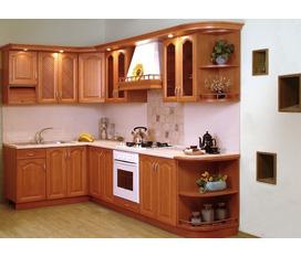 Tủ bếp gỗ dổi kiểu dáng trang nhã đẹp mắt làm đẹp ngôi nhà bạn