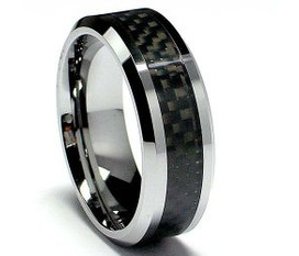 Nhẫn Nam 8MM Men s Tungsten Carbide Ring Wedding Band W/ Carbon Fiber Inaly sizes 5 to 15