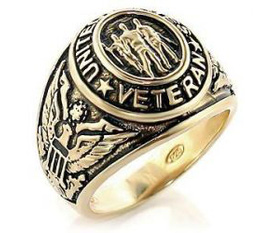 Nhẫn nam Men s United States Veteran Gold Plated Engraved Ring, 10