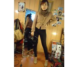 Áo dạ be Camel kèm belt và khăn cực đẹp và chất
