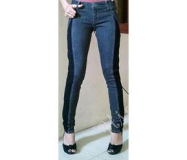 Skinny VNXK: jeans pha ren đen, jeans Miss Sixty kéo khóa gấu ...