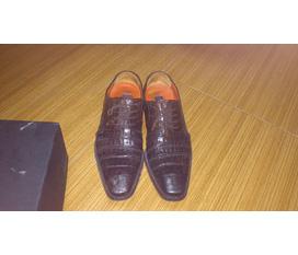 Bán giày da cá sấu màu nâu, hàng hiệu hãng MEZLAN, Handmade In Spain