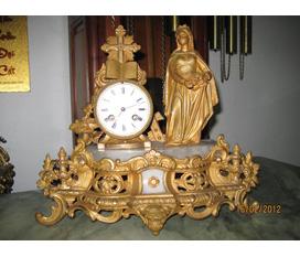 Đồng hồ tượng cổ , đồng hồ bộ ba cổ của Pháp Tk 19