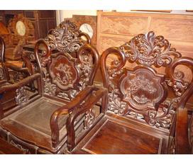 Bộ ghế hoa lá tây bằng gỗ trắc cũ