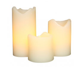 Đèn nến Gerson Company Everlasting Glow Flameless Ivory Wax Candles with Drip Effect Set of 3