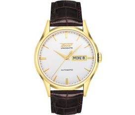 Men s Visodate Automatic Light Silver Dial Brown Leather