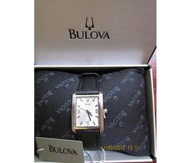 Đồng hồ nữ Bulova, quai da màu đen, kiểu dáng thanh lịch