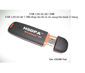 USB 3,5G tốc độ 7.2MB dùng cho tất cả các mạng bảo hành 12 tháng giá 450k