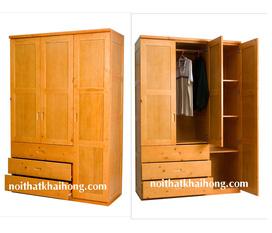 Nội thất phòng ngủ: tủ đựng quần áo bằng gỗ tự nhiên, tủ nhiều ngăn, hộc