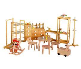 Nội thất phòng của bé: bộ nội thất em bé gồm kệ sách, đồ chơi, bàn học, giường ngủ, hộc đựng quần áo, bàn học bài