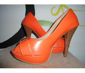 Giày siêu cao gót colour block màu cam thời trang, sành điệu, hàng hiệu sz 37 đẹp mê ly