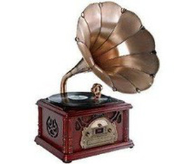 Máy nghe nhạcPyle Home PTCDS3UIP Classical Trumpet Horn Turntable with AM/FM Radio CD/Cassette/USB Direct to USB