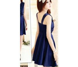 Váy chiffon xanh navy ngực xếp ly chéo