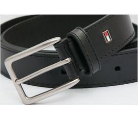 Dây lưng Tommy Hilfiger Black Leather Belt, hàng hiệu chính hãng, ship trực tiếp tại Mỹ