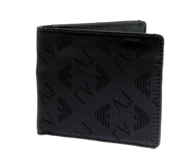 Ví nam Armani Jeans black canvas wallet AJM0070