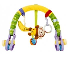 Đồ chơi an toàn dùng kẹp xe đẩy, nôi giường cũi bằng vải bông mềm hình chú khỉ cho bé Bunfun
