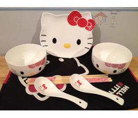 Bộ bát đĩa, ấm chén, cốc tách bằng sứ Hello Kitty chính hãng, sieu kute