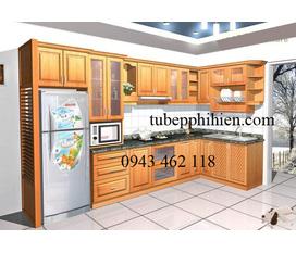 Mẫu Tủ bếp gỗ xoan đào