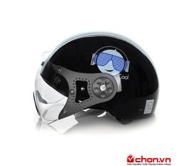 Mũ bảo hiểm Protec Hiway màu đen có kính