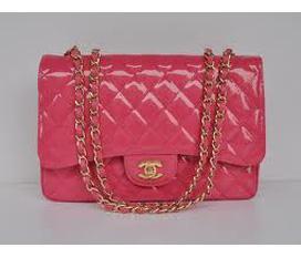 Túi chanel classic hồng bóng f2, new 100% nguyên tag giá 340k ha