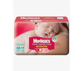 Thanh lí 5 gói quần tã Huggies Total Protection Newborn NB 24, giá mua 87k/gói, bán 60k.