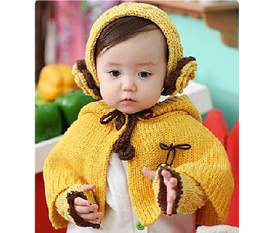 Áo len choàng cho bé có gang tay và băng đô bằng len thật xinh xắn