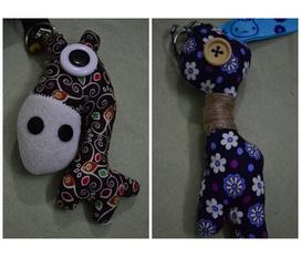 Móc khóa và điện thoại hình con thú cute, lạ, bằng vải, da. Số lượng có hạn