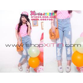 D1282.Jeans dài rách 1 (S,M,L)-->310,000 VNĐ mua sắm online Thời trang Nữ