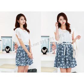 B361: Sky Blue, Navy/ 55, 66 - Váy liền xòe Hàn Quốc mua sắm online Thời trang Nữ