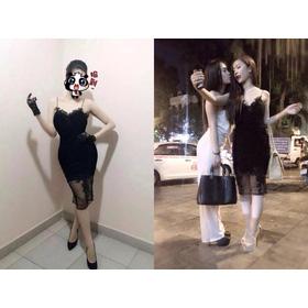 MS801_420K.Đầm Phối Chân Lưới Hoa Đắp. mua sắm online Thời trang Nữ