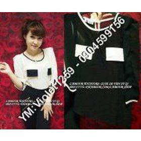 áo bạ 2 túi đen trắng mua sắm online Thời trang Nữ