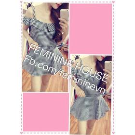 Đầm xòe carô trễ vai xinh xắn mua sắm online Thời trang Nữ