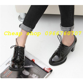 Giầy oxford trơn bóng 8cm mua sắm online Giày dép nữ