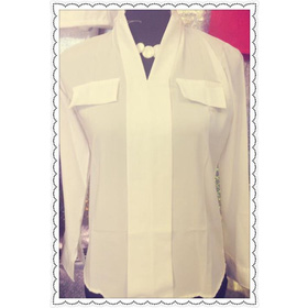 Áo sơ mi trắng túi ngực, size S - 130k mua sắm online Thời trang Nữ
