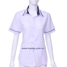 áo sơ mi học sinh nữ cấp 2 3 trắng viền xanh mua sắm online Thời trang Nam