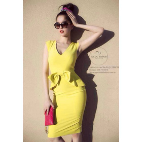 Váy liền nơ eo mua sắm online Thời trang Nữ