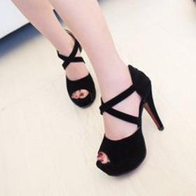 guốc da lộn quai chéo 2 màu đen,xanh mua sắm online Giày dép nữ