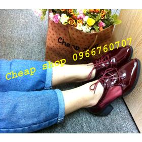 Giầy oxford vintage 5cm da bóng lưới mua sắm online Giày dép nữ