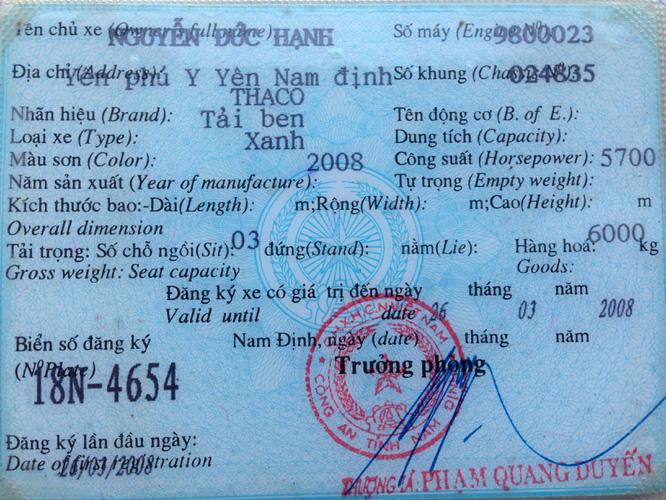 Bán 1 xe ben cũ Thaco Trường Hải 6 tấn 1 cầu đời 2008 xe cực chất giá 175 triệu đồng. Ảnh số 33145704