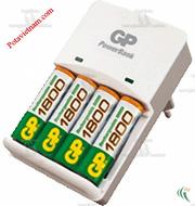 Ảnh số 16: Bộ, máy điện sạc pin thông dụng, sạc pin tiêu chuẩn 12h, 4 khay sạc pin, không kèm pin sạc AA/pin sạc AAA, Sạc pin GP KB01GS - Giá: 150.000