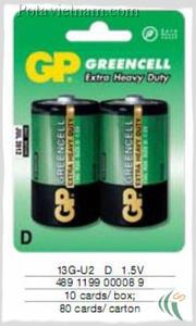 Ảnh số 41: Pin đại D, Pin thông dụng, Pin Carbonzinc, Pin GP 13G-U2 - Green (1 Gói/ 2 Viên pin) - Giá: 24.500