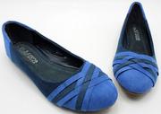 Ảnh số 23: Giày búp bê mũi chéo cách điệu xanh - Giá: 280.000